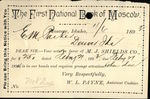 1893 MOSCOW IDAHO Contract THE FIRST NATIONAL BANK OF MOSCOW  E.M. PARKER W. L. PAYNE